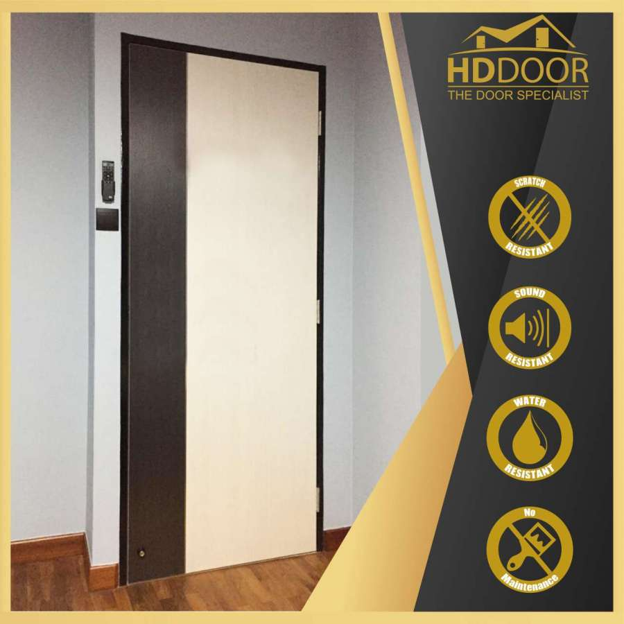 Laminate Soild Door with Two Tone Colour & Stainless Steel Inlay Strip